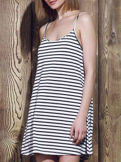 Spaghetti Strap A Line Stripe Dress - Blue And White S