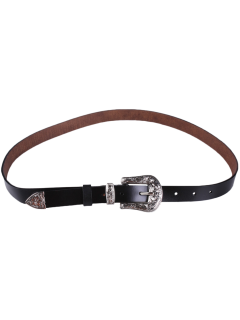 Retro Carve Pin Buckle Belt - Black