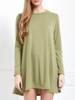 Long Sleeve Open Back Swing Dress - Army Green M
