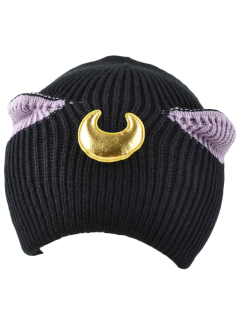 Moon Knit Cat Ear Hat - Black