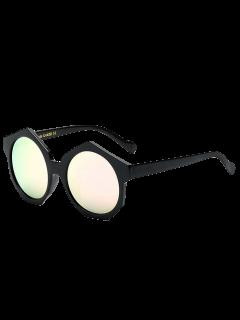 Polygonal Frame Mirrored Sunglasses - Pink