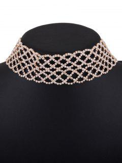 Hollow Out Rhinestoned Wide Choker Necklace - Golden