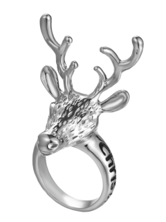 Christmas Deer Ring - Silver