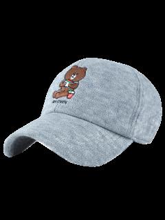 Cartoon Bear Embroidery Knit Baseball Hat - Light Gray