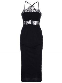 Midi Lace Inset Bodycon Dress - Black