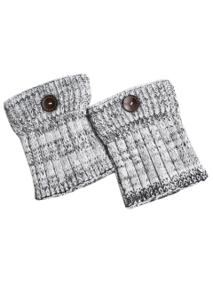 Buttons Yoga Knit Boot Cuffs - White