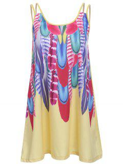 Feather Print Cami Dress - Yellow M