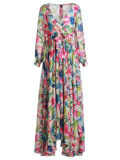 Full Floral Long Sleeve Maxi Dress - L