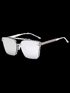 Striped Metal Leg Square Mirrored Sunglasses - Silver
