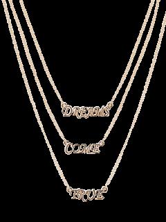 Collar Pendiente De La Carta De Capas Múltiples - Dorado