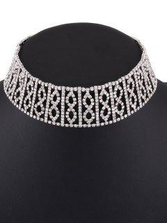 Hollow Out Rhinestone Infinity Choker - Silver