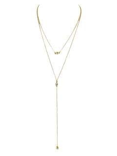 Diamantes De Imitación En Capas En Forma De Y Collar - Dorado