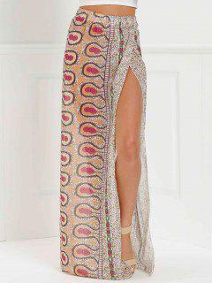 High Slit Printed Long Skirt - Pink Xl