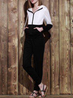 Color Block Hoodie And Sweatpants Sweat Suit - Black L