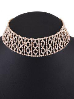 Hollow Out Rhinestone Infinity Choker - Golden
