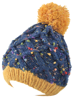 Latticed Knit Ball Beanie - Cadetblue