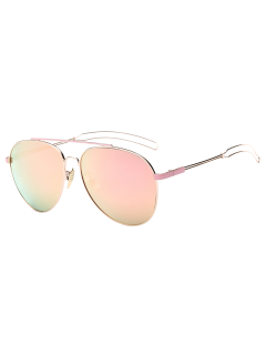 Crossbar Hollow Out Leg Pilot Mirror Sunglasses - Pink