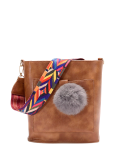 Colorful Strap Pompon Shoulder Bag - Brown