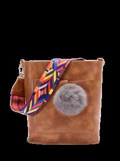Colorful Strap Pompon Shoulder Bag - Brown