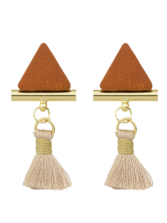 Tassel Triangle Earrings - Brown