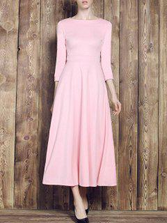 Fit And Flare Maxi Dress - Pink M