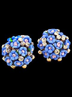 Pendientes De Flores Azules Minúsculas - Azul