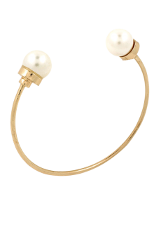 Faux Pearl Alloy Beads Cuff Bracelet - Golden