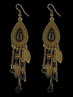 Fringe Water Drop Earrings - Black