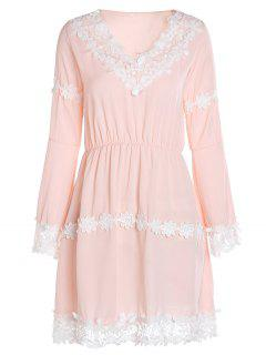 Crochet Floral Applique Chiffon Dress - Pink M