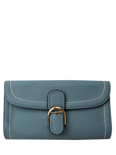 Buckle Strap Flap Crossbody Bag - Light Blue