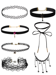 Flower Velvet Choker Necklaces - Black