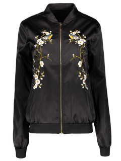 Embroidered Baseball Jacket - Black L
