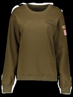 Patch Desigh Letter Sweatshirt - Army Green M