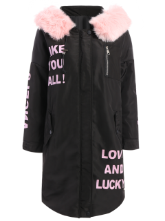 Hooded Letter Padded Coat - Black M