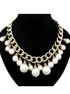 Faux Pearl Hollow Out Chunky Necklace - Golden