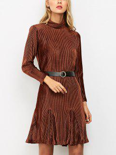 Ribbed Mock Neck Long Sleeve Ruffle Dress - Brown S
