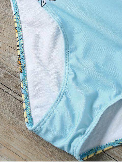 Costume de bain plongeant imprimé tournesol - Bleu clair XL Mobile