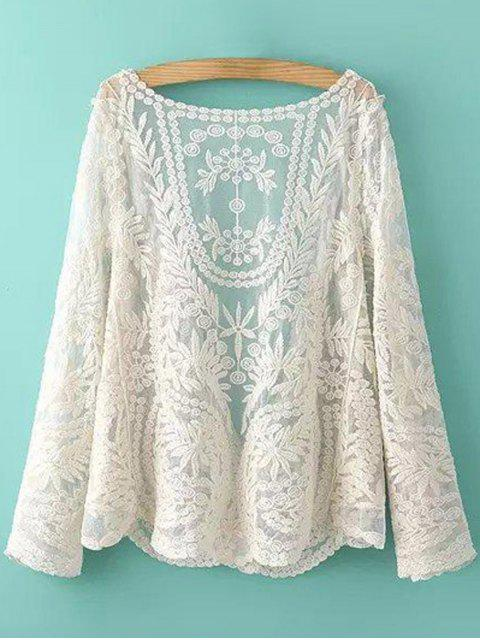 chic See-Through Leaves Pattern Lace Blouse - OFF-WHITE ONE SIZE(FIT SIZE XS TO M) Mobile