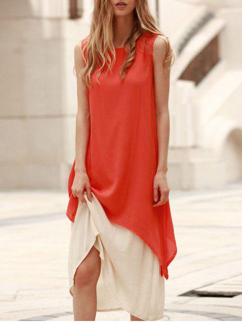 sale Two Piece Tank Dress - ORANGE L Mobile