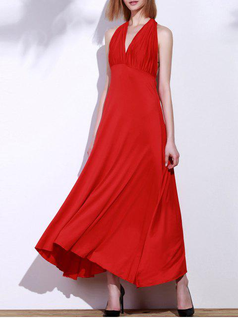 affordable Backless Convertible Maxi Dress - RED S Mobile