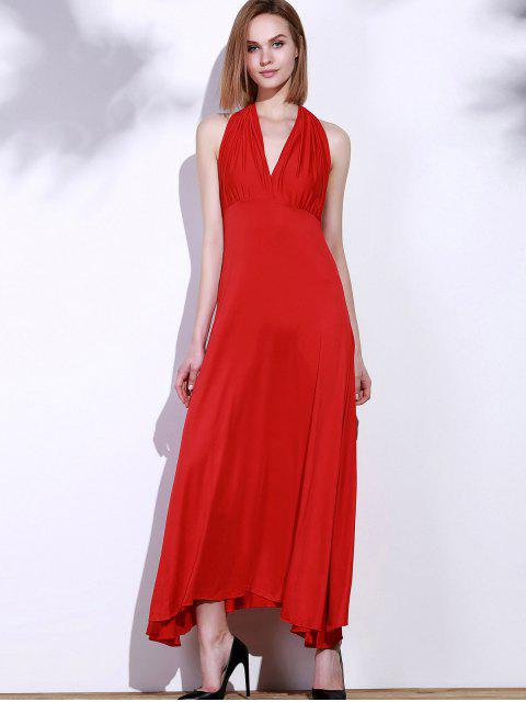 buy Backless Convertible Maxi Dress - RED M Mobile