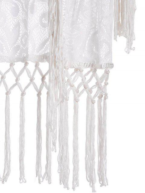 latest Tassels Spliced Lace White Sunscreen Blouse - WHITE S Mobile