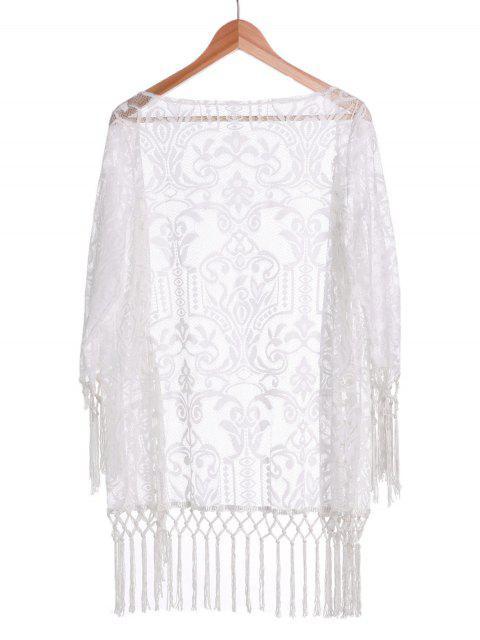 trendy Tassels Spliced Lace White Sunscreen Blouse - WHITE M Mobile