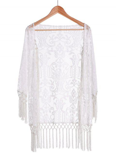 chic Tassels Spliced Lace White Sunscreen Blouse - WHITE L Mobile
