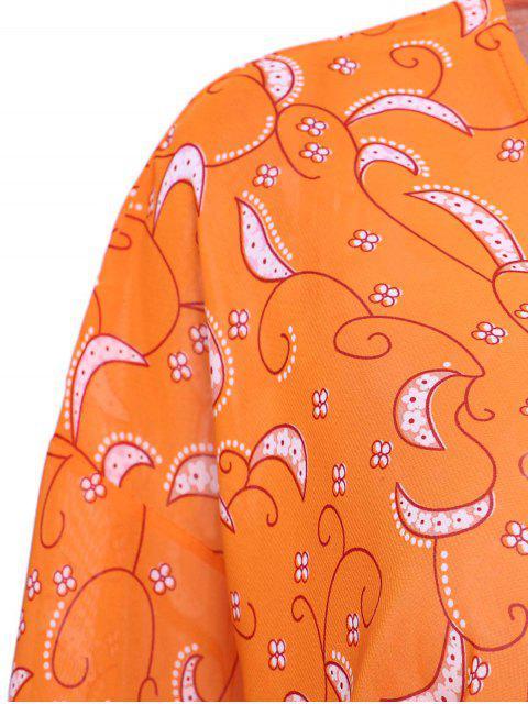 womens Paisley Print 3/4 Sleeves Kimono - ORANGE S Mobile