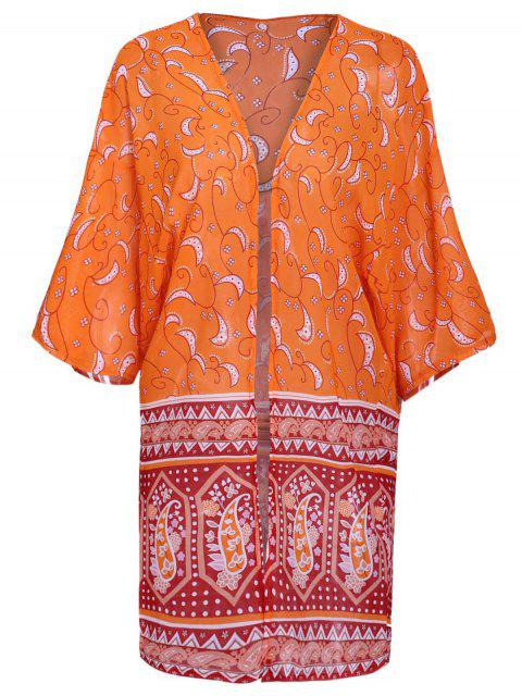 womens Paisley Print 3/4 Sleeves Kimono - ORANGE S Mobile