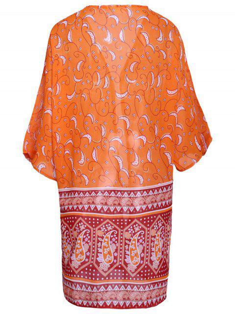 Paisley Print 3/4 Sleeves Kimono - Orange L Mobile
