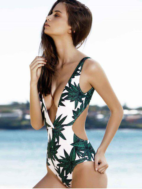 shops Leaf Print Plunging Neck Swimsuit -   Mobile