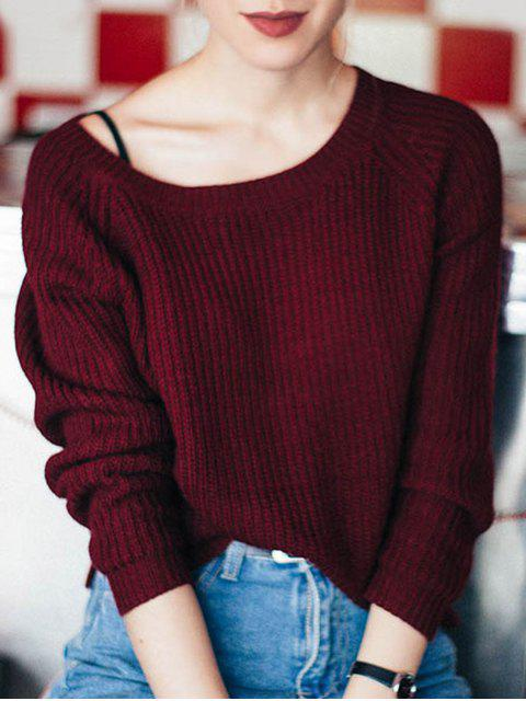 fashion Boat Neck Loose Sweater - WINE RED ONE SIZE Mobile
