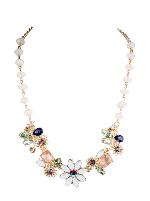 online Faux Gem Flower Necklace - GOLDEN  Mobile